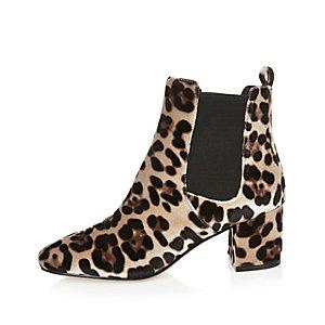 Braune Samt-Chelsea-Stiefel mit Leopardenmuster