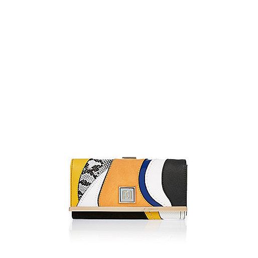 Black print clip top purse