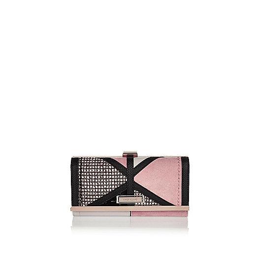 Rosa Tweed-Geldbörse mit Clipverschluss