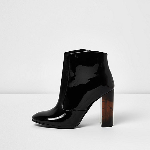Black patent perspex heel ankle boots