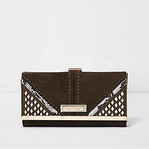 Khaki laser cut clip top purse