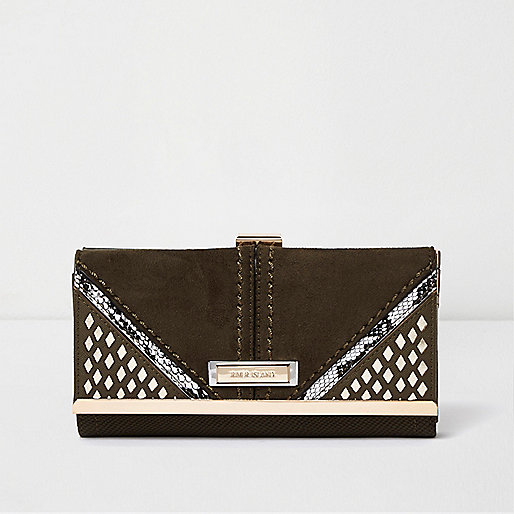 Khaki laser cut clip top purse