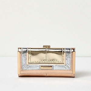 Rose gold tone metallic panel clip top purse