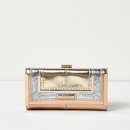 Rose gold tone metallic panel clip top purse