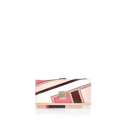 Porte-monnaie rose avec empiècement sportif et fermoir clip