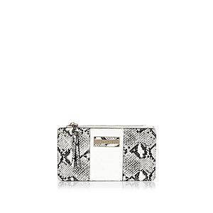 White snake print foldout purse