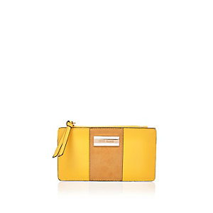 Yellow foldout panel purse