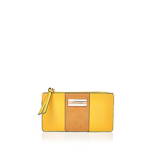 Yellow foldout panel purse