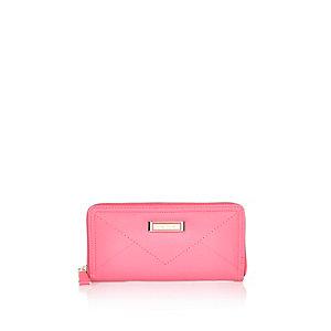 Pink zip around purse
