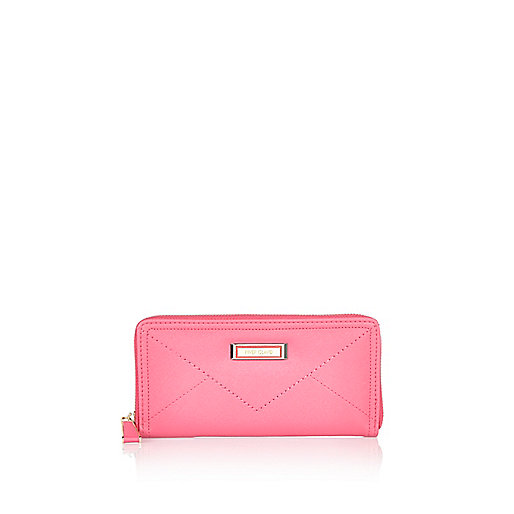 Pink zip around purse