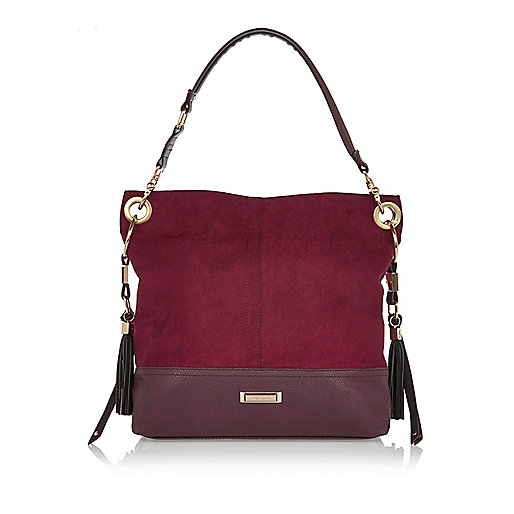 Dark red tassel slouch handbag