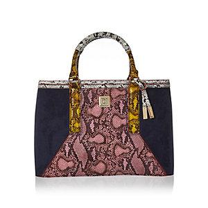 Navy snakeskin structured tote handbag
