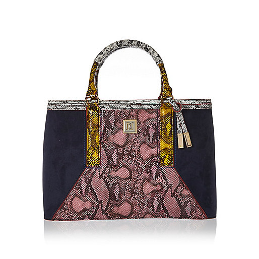 Navy snakeskin structured tote handbag
