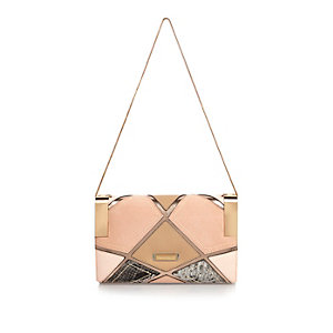 Nude cutabout clutch bag