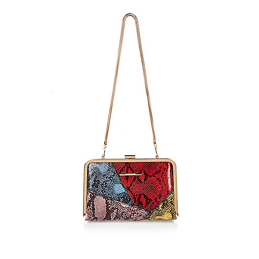 Red snake print panel clutch bag