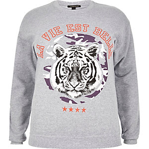 RI Plus grey tiger print sweatshirt