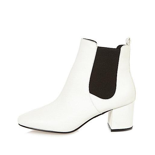White block heel Chelsea boots