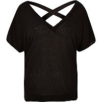 Black knitted V-neck cross back sweater