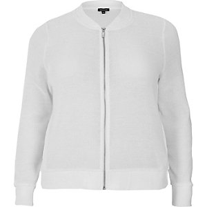 RI Plus white knit bomber jacket