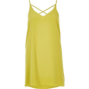 Dark yellow strappy slip dress