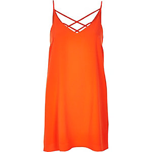 Orange strappy slip dress