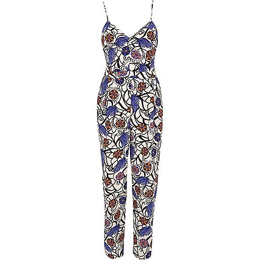 Blue print jumpsuit