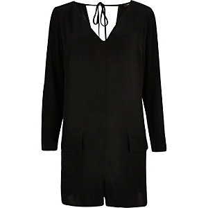 Black tie-up romper