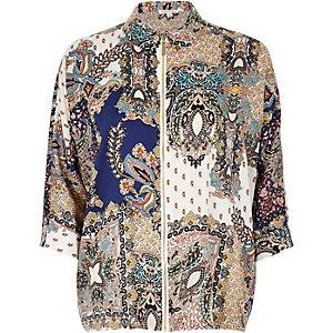 Blue print zip shirt