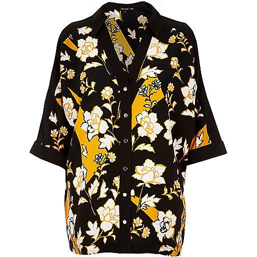 Orange floral print cold shoulder shirt