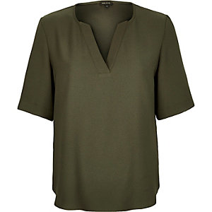 Khaki V-neck blouse