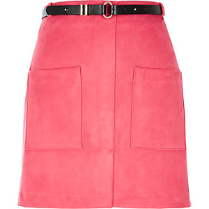 Pink belted pocket mini skirt