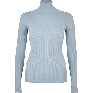 Light blue ribbed knit turtleneck top