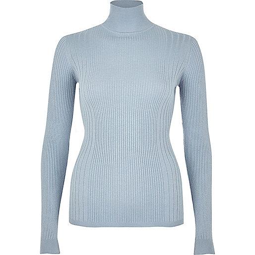 Light blue ribbed knit turtleneck top