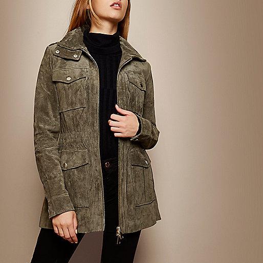 RI Studio khaki suede utility jacket