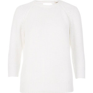 White knit open back sweater
