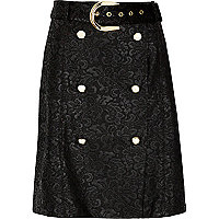 Black lace buttoned mini skirt