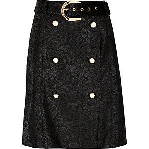 Black lace buttoned mini skirt