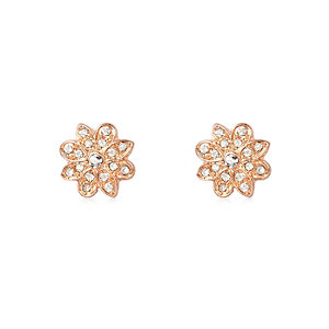 Rose gold tone diamanté flower stud earrings