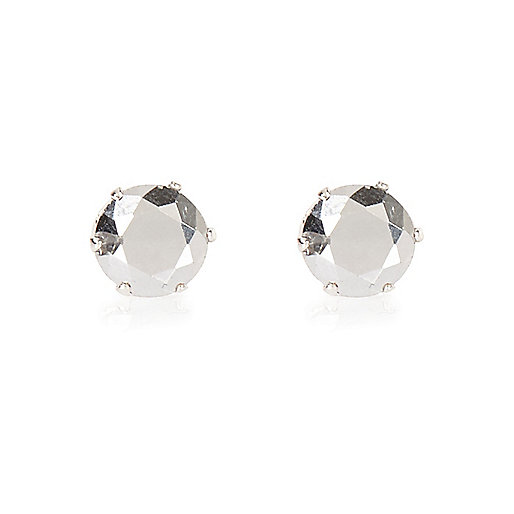 White silver tone crown stud earrings
