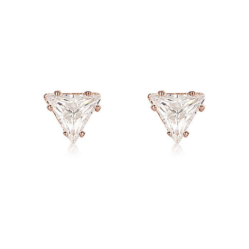 Rose gold tone triangle stud earrings