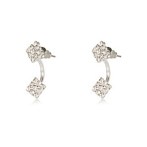White silver tone diamanté drop earrings