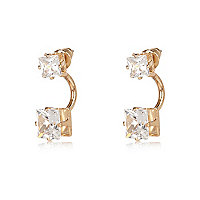 Gold tone crystal drop earrings
