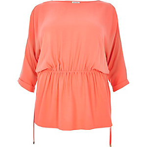 RI Plus coral cold shoulder tunic