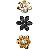 Black bee brooches pack