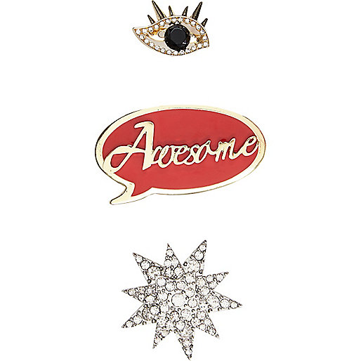 Gold tone slogan brooches pack