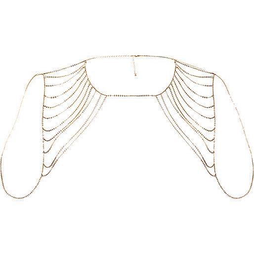Gold tone draped chain harness