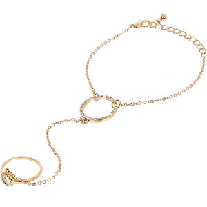 Gold tone diamanté circle hand harness
