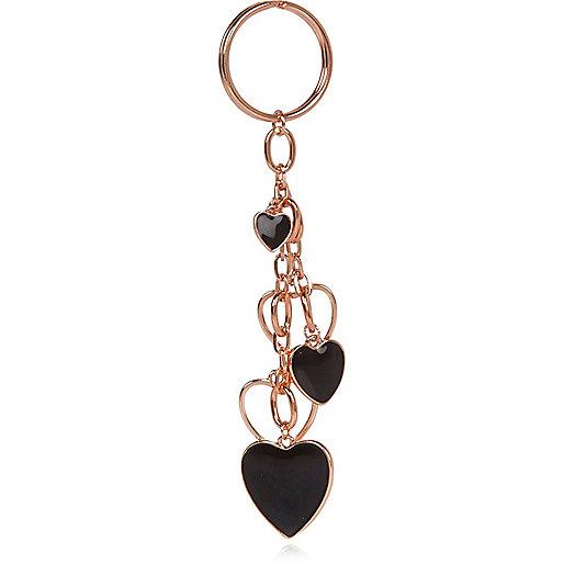 Rose gold clustered heart keyring