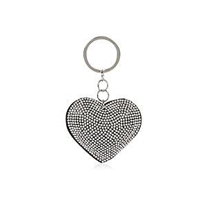 Porte-clés cœur argenté et noir avec strass