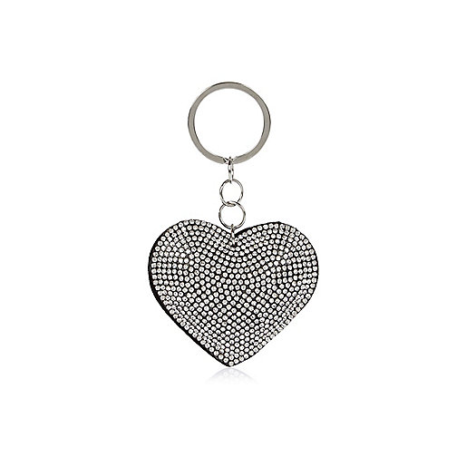 Black and silver tone diamanté heart keyring